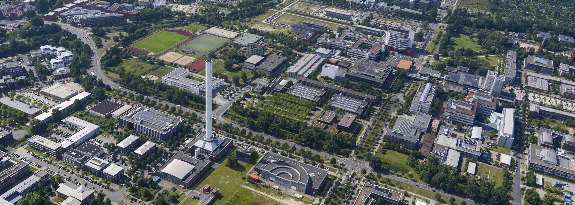 Luftaufnahme vom Technologiepark an der Uni