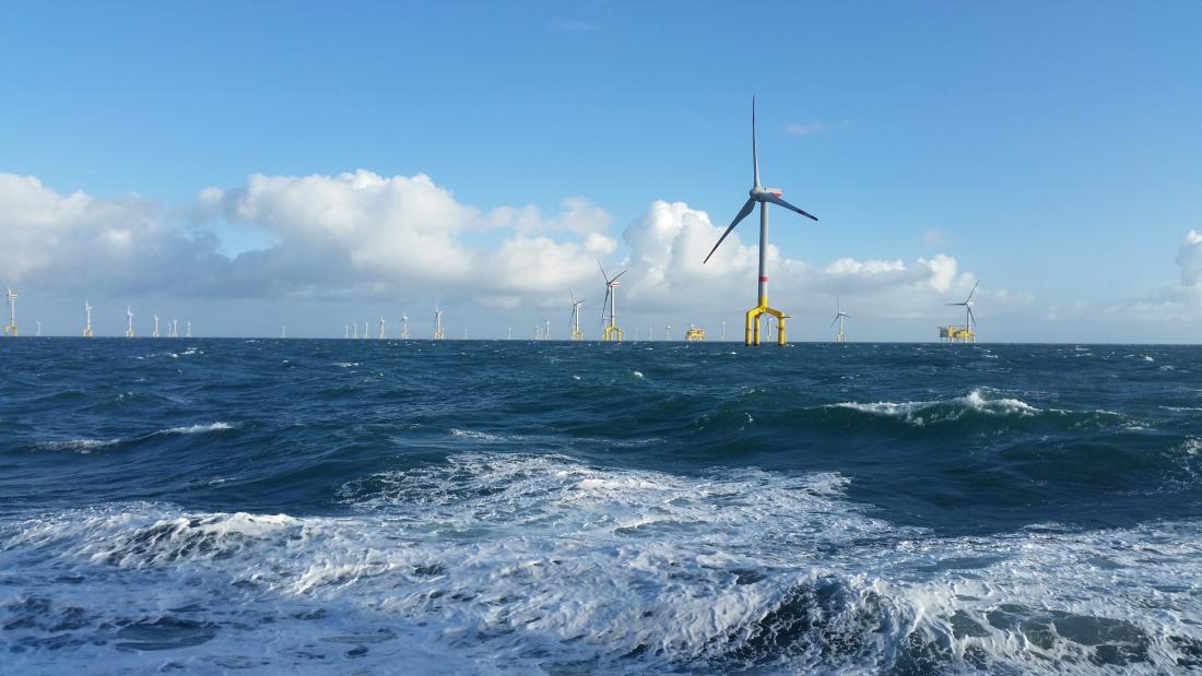 Der Windpark BARD Offshore 1 mit 400 Megawatt Leistung, Bild: OBE