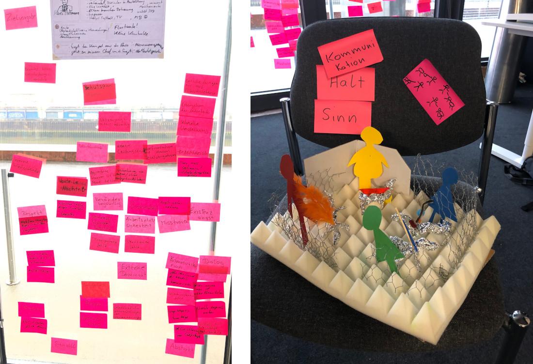Das steckt viel kreativer Hirnschmalz drin: Post-its und gebastelte Prototypen, typisch fürs Design Thinking, Bild: Kurswechsel