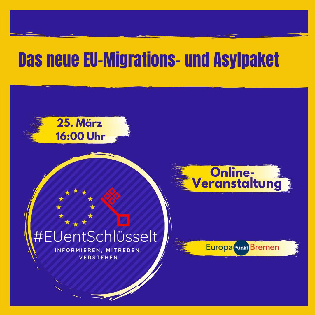 #EUentschlüsselt Das neue EU-Migrations und Asylpaket 25. März 16:00 Uhr Online-Veranstaltung