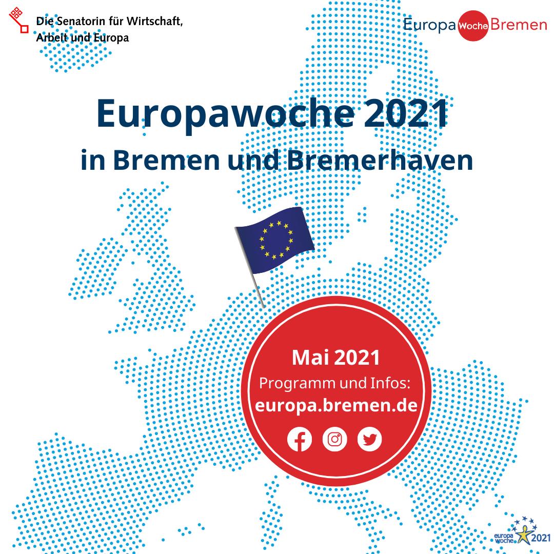 Ankündigung für die Europawoche 2021 in Bremen und Bremerhaven im Mai 2021