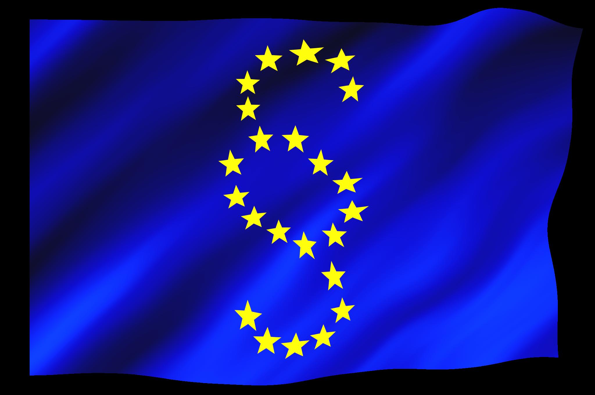 EU-Flagge, auf der die Sterne statt eines Kreises ein Paragrafenzeichen bilden